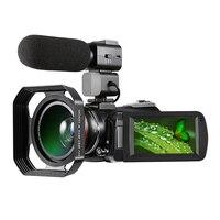 Ordro HDV AC3 видеокамера 4 К 24 миллионов пикселей с широкоугольным объективом и микрофон и капюшоном