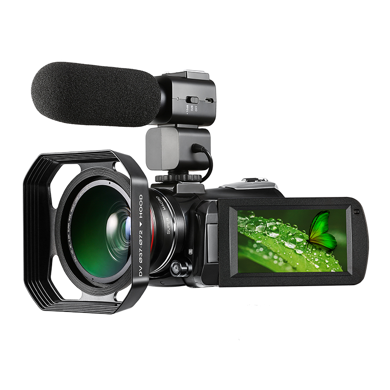 Ordro  HDV-AC3 Video camera 4K 24millions pixels with wide lens and microphone hood