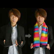 Silk Change Color Scarf Magic Tricks Black to Rainbow  Magician Trick magic gimmick Stage Easy To do