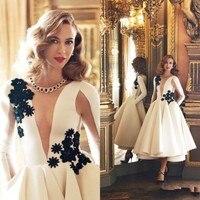 2018 новый элегантный осень Середина Платье 3D кружевное платье с цветочным рисунком вечерние платья белый одежда с длинным рукавом Чай Длина