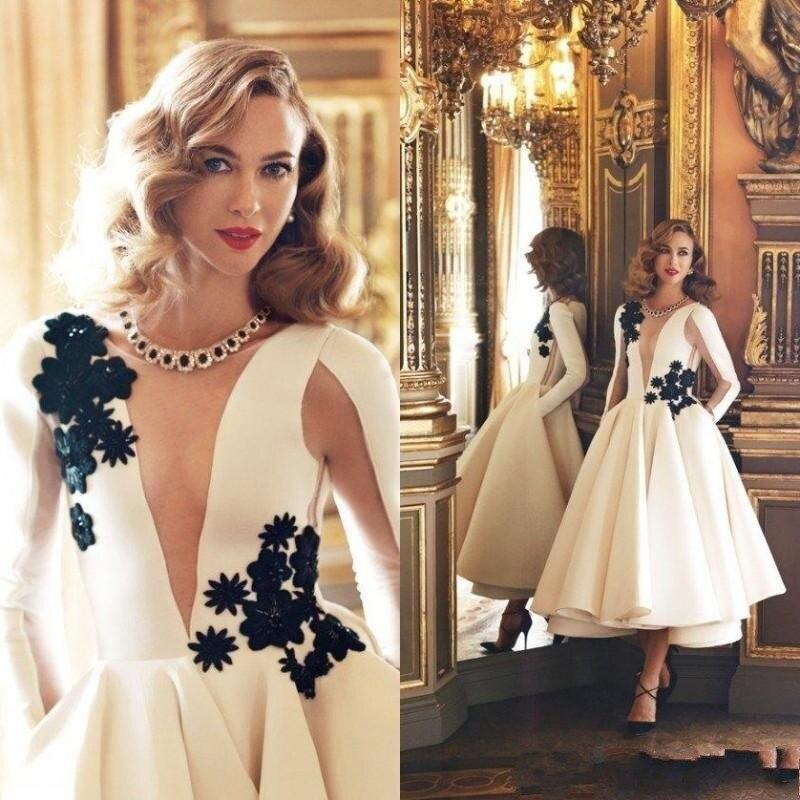 2019 Новое Элегантное осеннее платье средней длины 3D цветочное кружевное платье Формальные Вечерние платья белые длинные рукава чайная длин