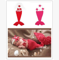 Retail Baby Crochet Mermaid Costume Set Pearl Cocoon with Flower Headbands Baby Infant Photo Props 1set,newborn baby products