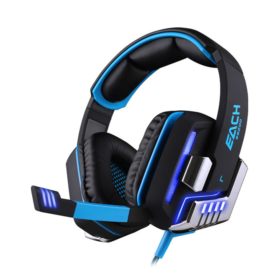 ФОТО KOTION EACH G8200 Gaming Headphone Vibration Computer Game Headsets USB 7.1 Microphone Breathing LED Light Surround Sound Effect