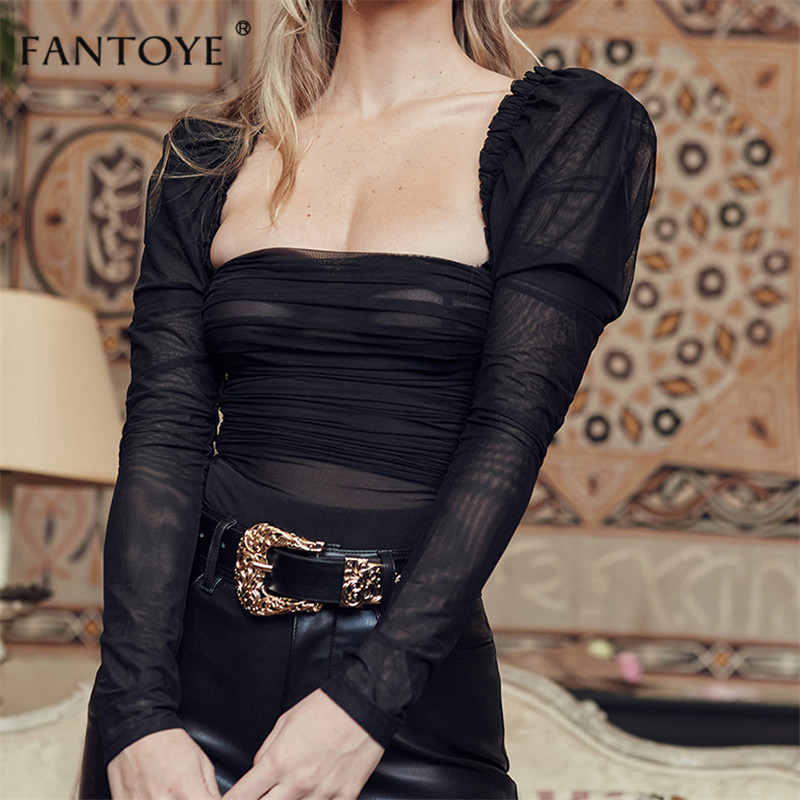Fantoye Sexy Black Lace Low Collar Bodysuit Women Mesh Layered Backless Ruffles Slim Bodycon Tops Femme Elegant Vintage Overalls