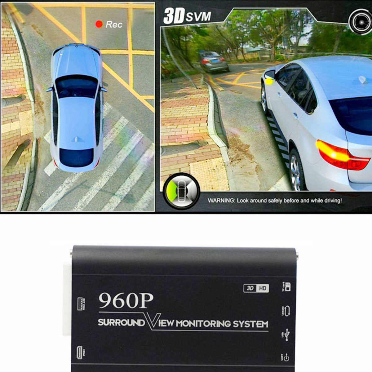 3D 360 Degree Car Surround View Monitoring System Bird 4 Camera DVR Dash HD 1080P Recorder Parking