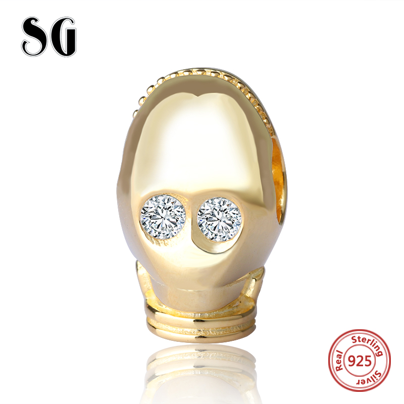 SG hot sale movie Robot Beads 925 Sterling Silver gold color Charm Fit Original pandora Charm Bracelet Jewelry accessories gift in Beads from Jewelry Accessories