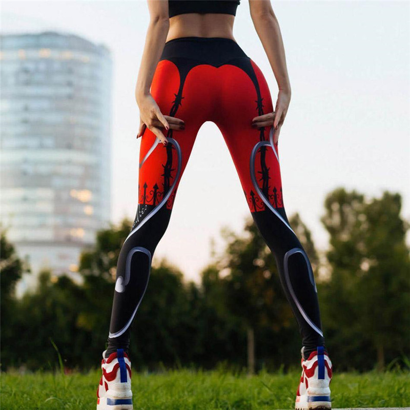 2018 Sportings Suits   Leggings   For Women Floral Print High Elastic Fitness Two Pieces Top+  Leggings   Women Workout   Leggings   Suits