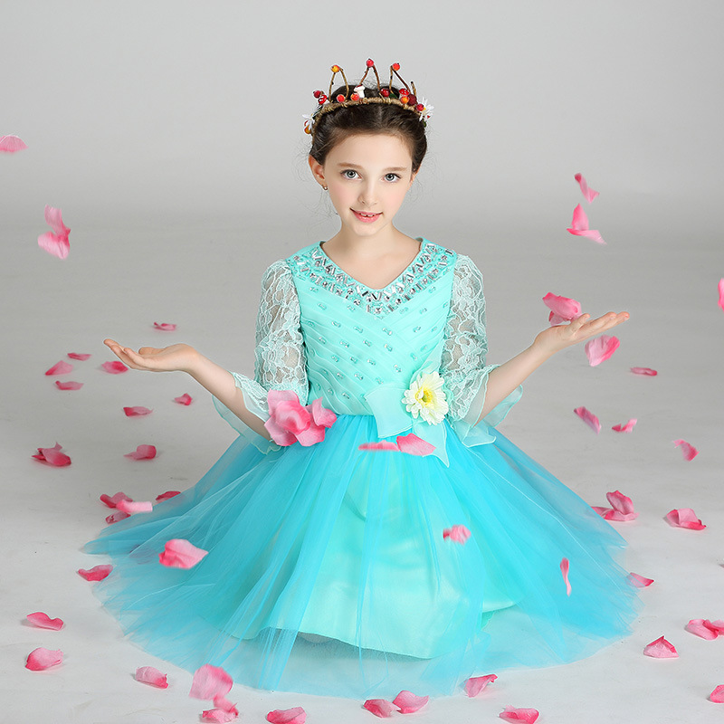 T372 Wholesale 6pcs lot Europe and America children girls dress lace  embroidered organza princess dress 4d015ca52d59