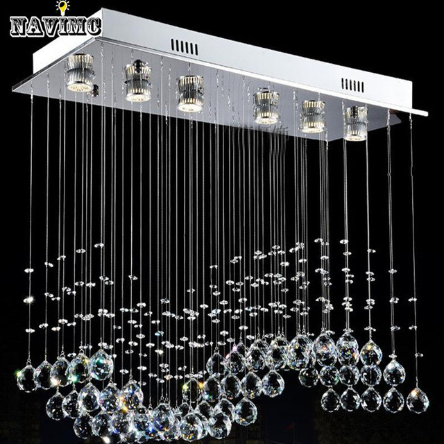 Modern Silver Stainless SteelCrystal Ball Light Curtain Wave K9 Crystal LED Chandeliers Fitting For Dining Room