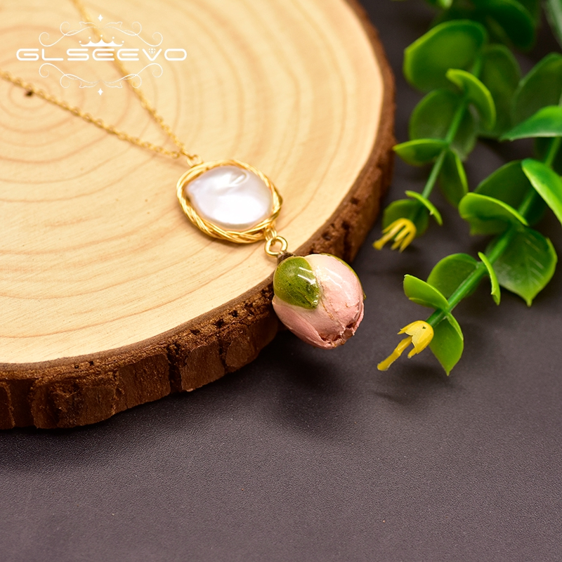 GLSEEVO Handmade Baroque Pearl 925 Sterling Silver True Flower Pendant For Women Engagement Necklace Fine Jewelry Bijoux GN0134