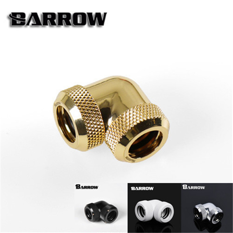 Barrow G1/4'' X 2 Double head hard tube 90 D Multi-Link Adapter 12mm 14mm Black/ Silver/White/Gold TWT90KNS-K12 TWT90KNS-K14 barrow white black silver od12mm hard tube fitting hand compression fitting g1 4 od12mm hard pipe tykn k12 v4