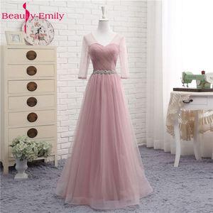 Image 3 - Heißer V Neck Brautjungfer Kleider lange für Frauen Elegante 2020 EINE Linie Sparkly Tüll Rosa Party Kleid für Hochzeit Party plus Größe