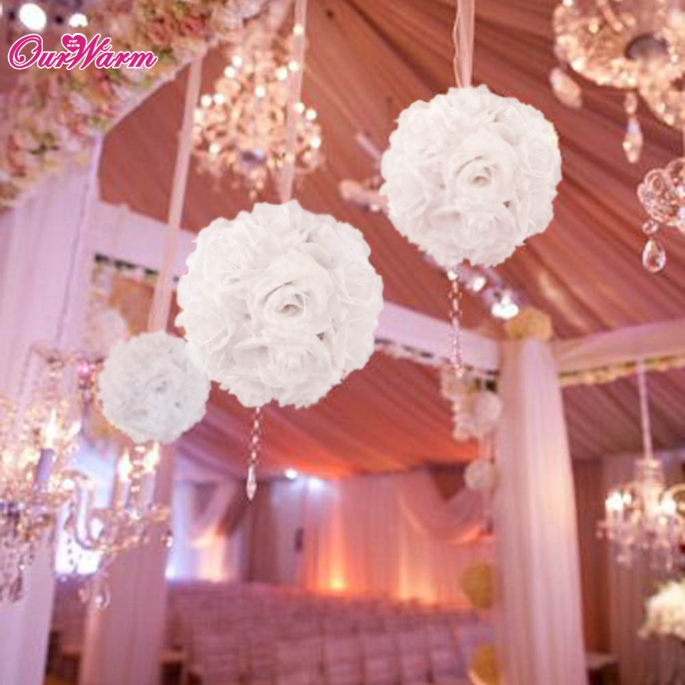 18cm 7in Silk Ribbon Rose Flower Ball Artificial Pomander Bouquet Kissing Wedding Centerpiece Decorations On Aliexpress Alibaba Group