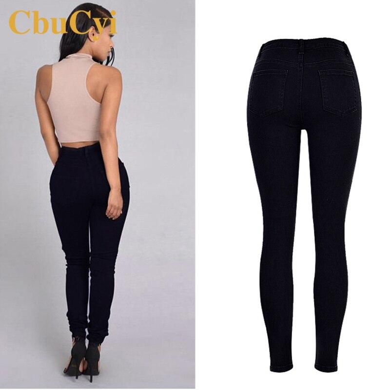 CbuCyi Mode Jeans Frauen Baumwolle Denim-hosen Hohe Taille Gewaschen Loch Stretch Schwarze Jeans Weibliche Gestickte Flare Jeans