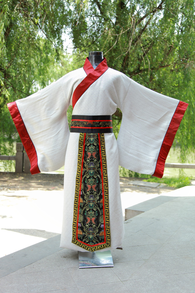 Chinese Men Traditional Costume Male Long White Robe +belt Chinese Hanfu Dance Costume for Man Stage National For Costume 89