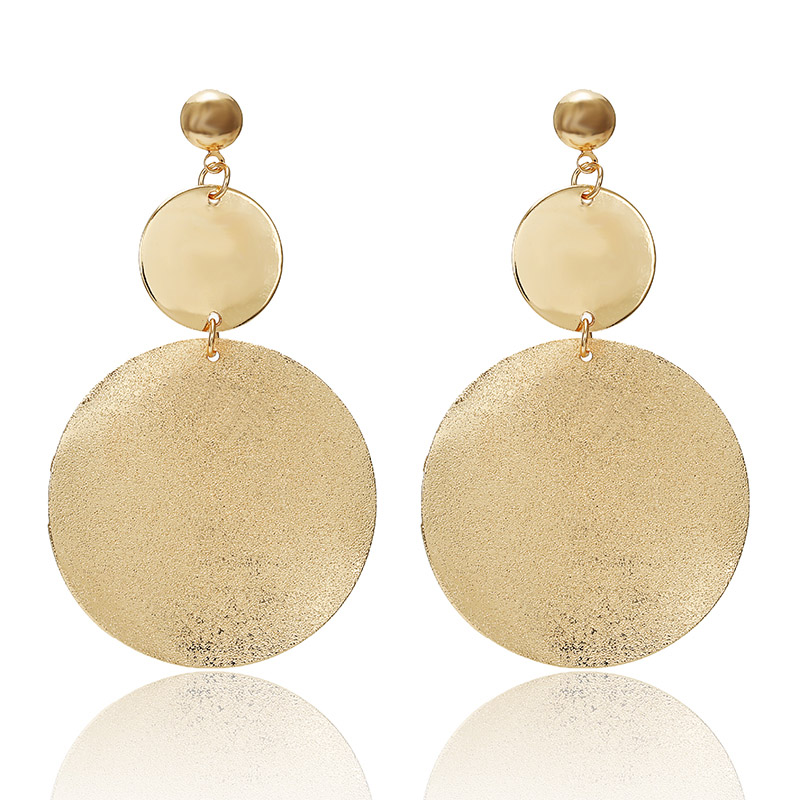 New Gold Metal Earrings For Women Girls Round Geometric Earrings Indian Brincos Accessories Female Vintage Circle Earrings 2019 3