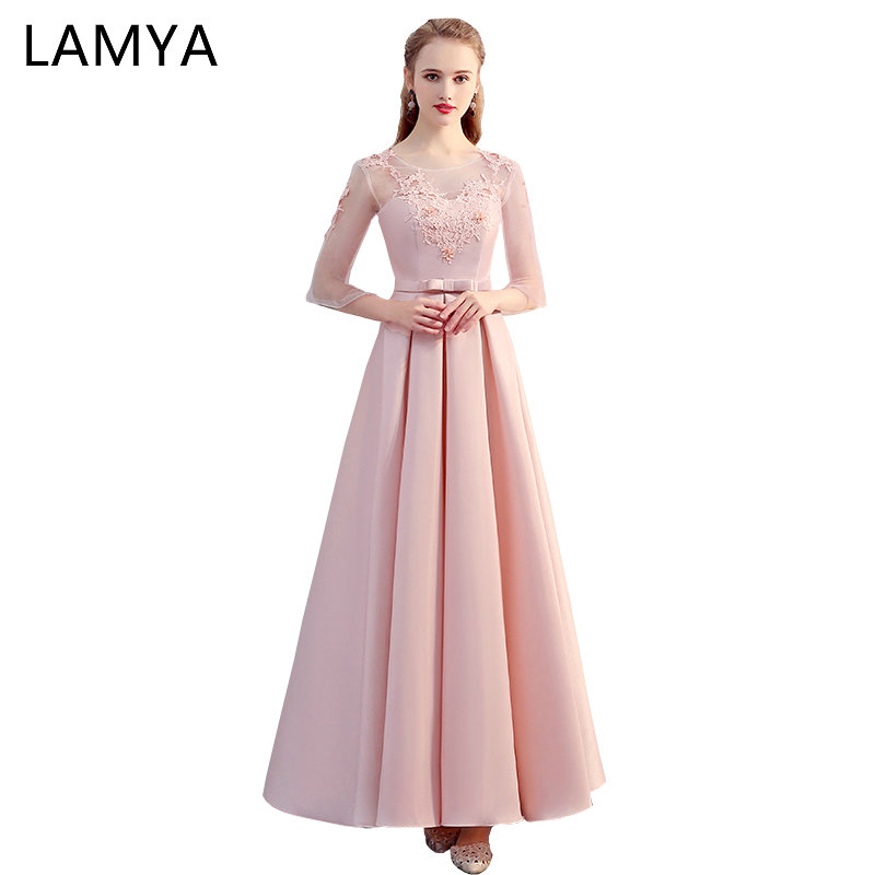 LAMYA Pink Satin   Bridesmaid     Dresses   Long Elegant Wedding Party Gown A Line Prom   Dress   Robe De Soiree Real Photo