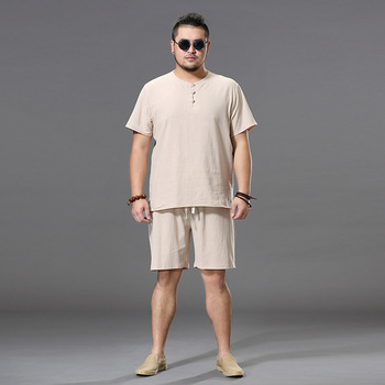 Brand summer linen men top tees sets o-neck Men's T Shirt Men Tshirts sets For Male T-shirt plus size M-9XL two-piece suit
