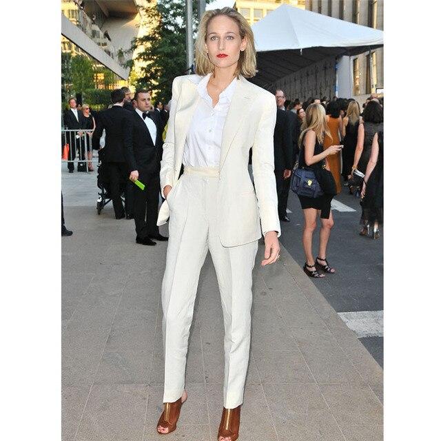 Nuevo estilo pantalones traje pantalón blanco traje 2 unidades conjunto  mujer Oficina trajes para mujer blazer b145dbf4f851