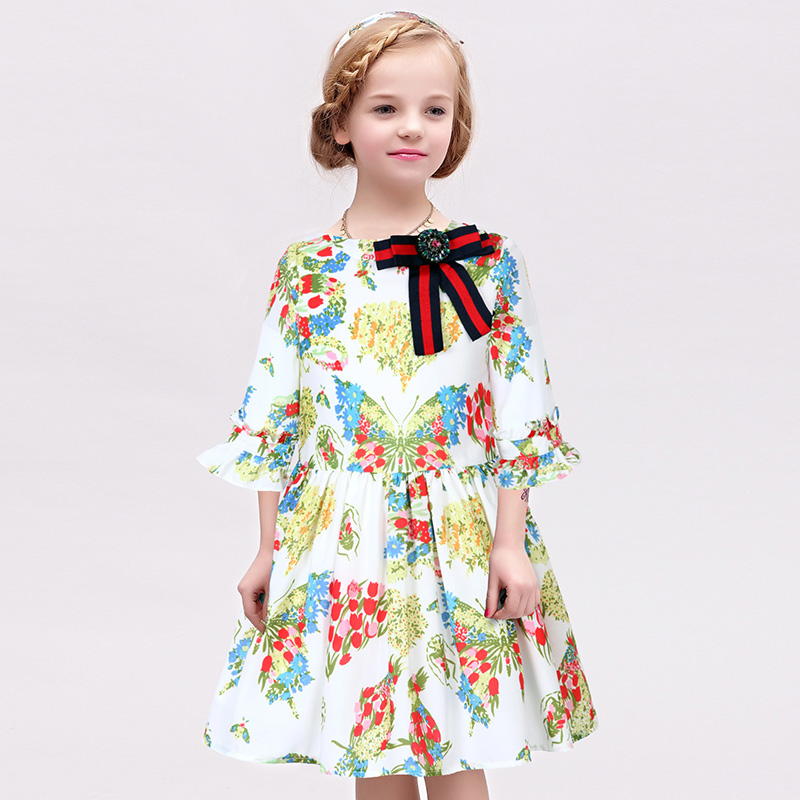 W.L.MONSOON 2018 Brand Girls spring and autumn 2018 new floral baby dress children princess dress 2018 brand new spring