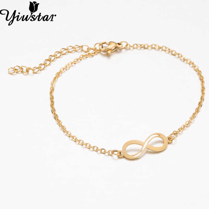 23485ea2ff ... Yiustar Gold Eternity Infinity Stainless Steel Bracelets for Women  Girls Endless Lovers Pendant Love Jewelry Girt ...