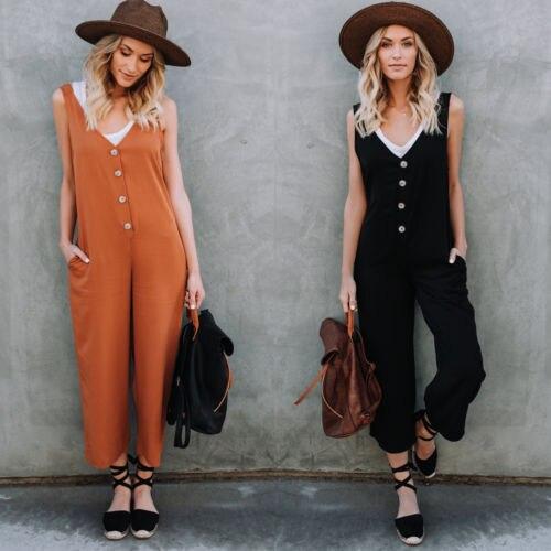 2018 New Fashion Hot Selling Casual Vrouwen Losse Harem Jarretelle Jumpsuit Overalls Wijde Pijpen Broek Vrouw Dames Playsuit