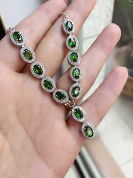 Natural green diopsid Necklace natural gemstone Pendant Necklace S925 silver trendy Elegant round  women party fine Jewelry