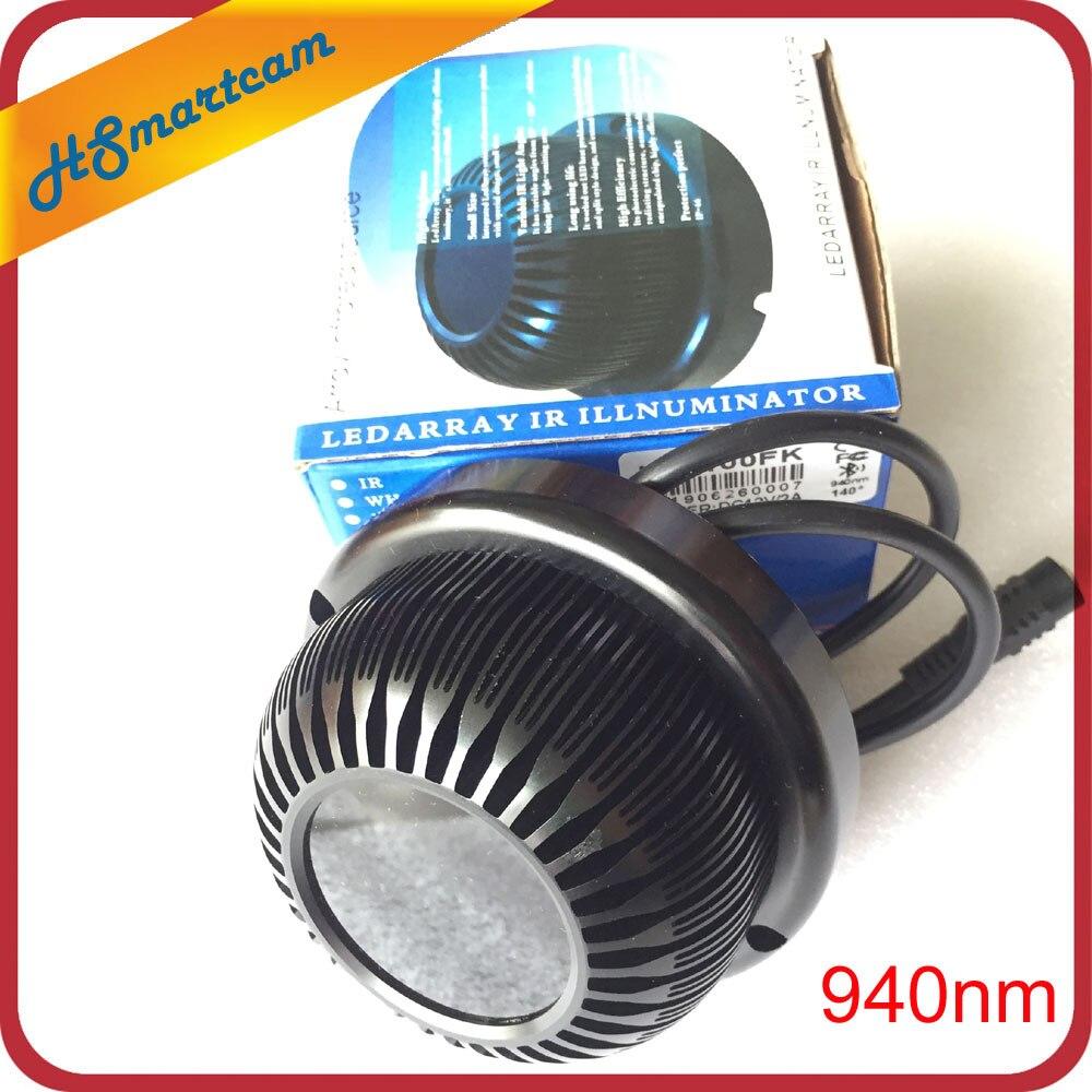 Nouvel illuminateur Invisible 940NM infrarouge 140 degrés 10 w LED IR lumières pour CCTV sécurité 940nm IR filtre HD caméra
