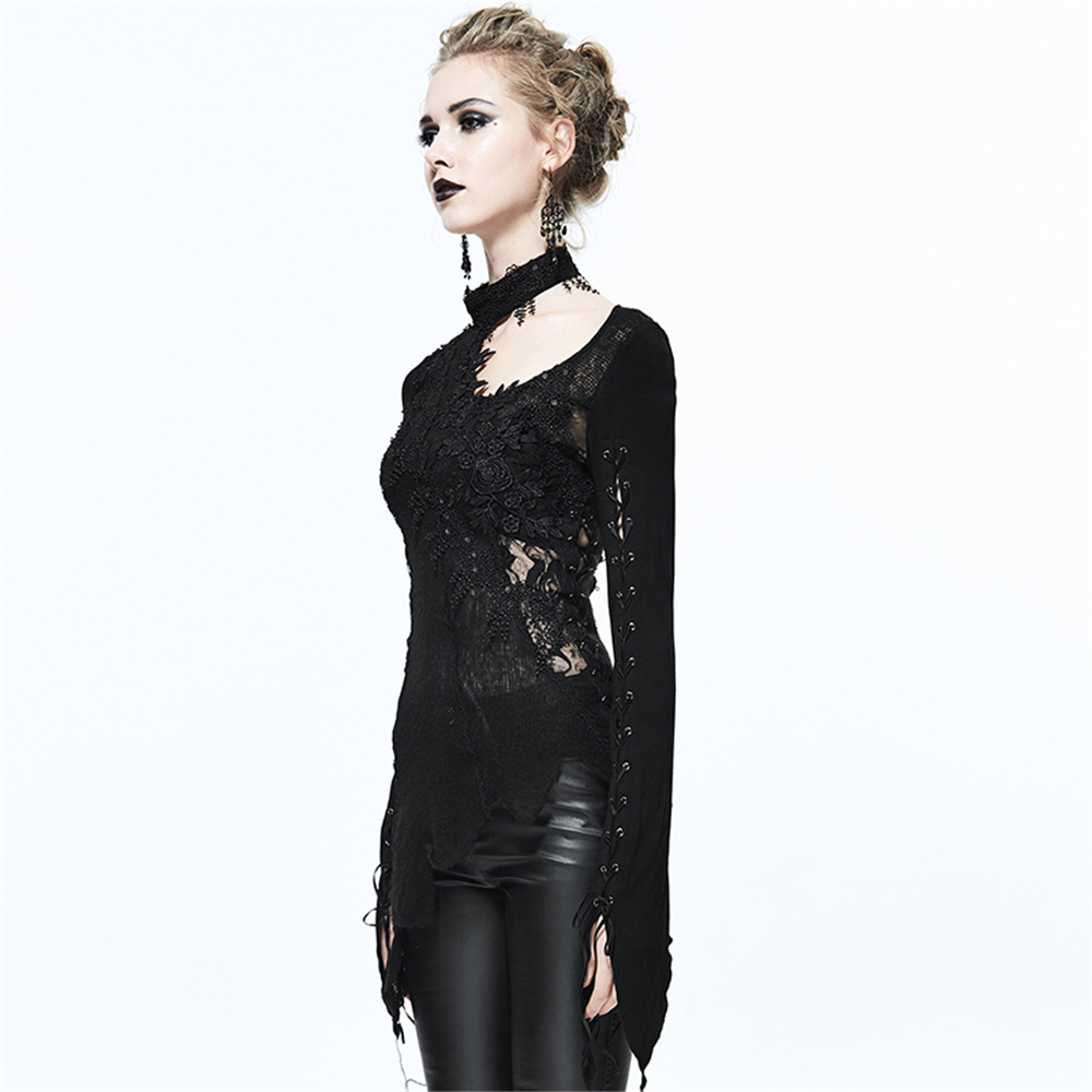 Noir Chemises Tops Longues Transparent T Femmes Halter Manches Bandage Sexy Steampunk À shirt Shirts Dentelle Mince T 0xqBCF7
