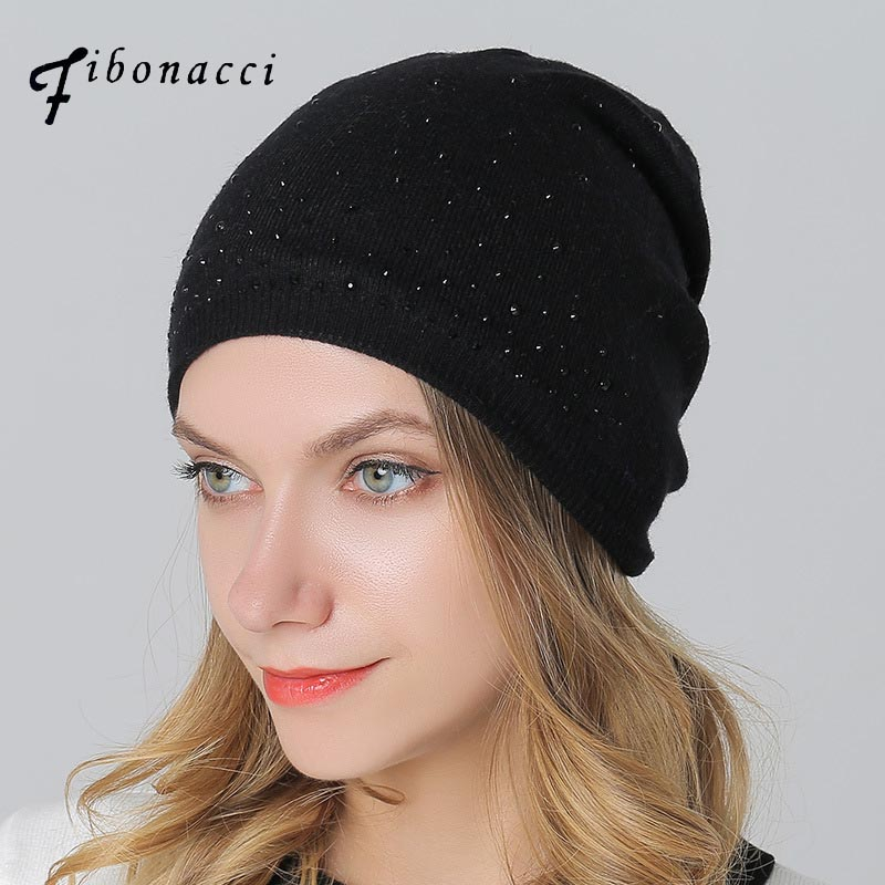 Fibonacci winter hat knitted wool beanies skullies casual outdoor ski caps high quality thick solid warm hats for women winter wool beanies solid thick bonnet knitted skullies ladie women warm ski hat earmuffs soft breathable cap cotton gorras
