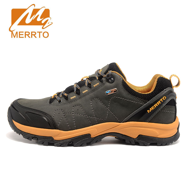 Merrto Men Women Hiking Shoes Genuine Leather Hiking Boots Trekking Shoes Sneakers For Men Women Hiking Boots Men Mountain Shoes plus size lace insert stripe smock dress
