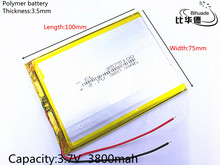 Free shipping 1pcs/lot 3800mAh domestic Tablet PC 7 inch 8 inch 9inch 3575100 built-in 3.7V polymer lithium battery
