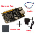 Original Banana Pro+CPU Heat Sink+Sata Cable+EU Plug Charger Beyond Banana Pi Soc Allwinner A20(sun 7i) With WIFI Free shipping