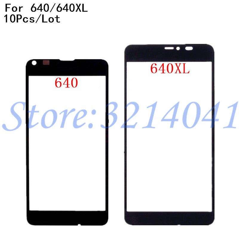 10pcs/lot Original For Nokia Microsoft Lumia 640 N640 640 Xl 640xl Touch Screen Front Outer Glass Lens Cover Repair Part+logo