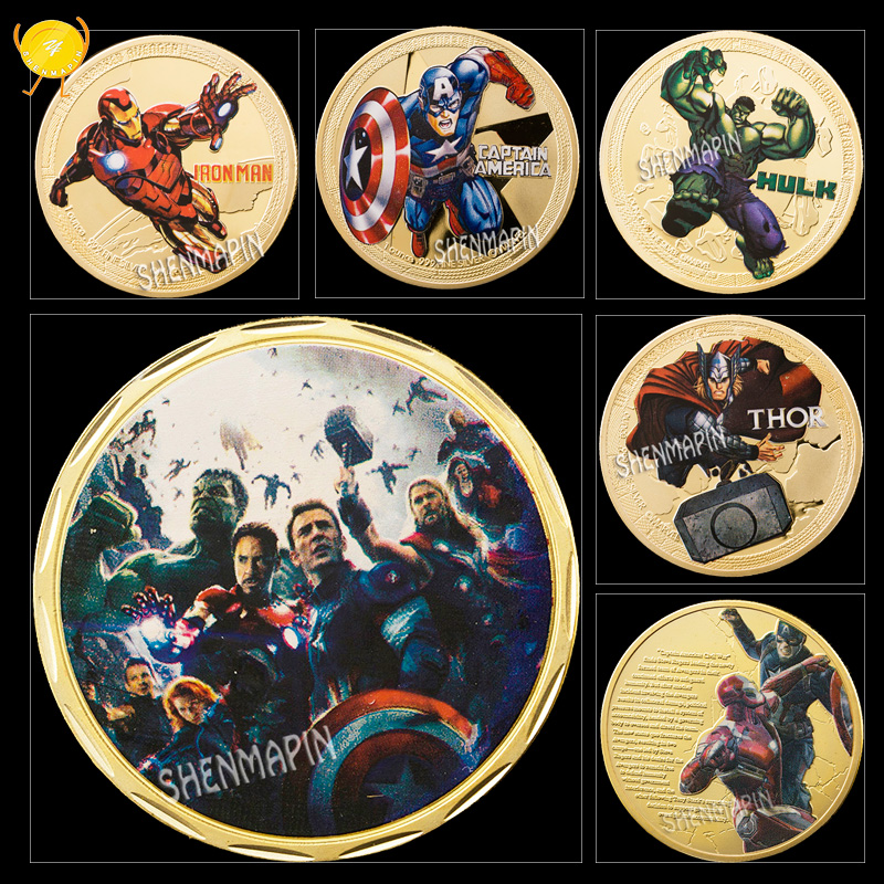 The Avengers Captain AmericaCartoon Movie CommemorativeGold Plated Coin