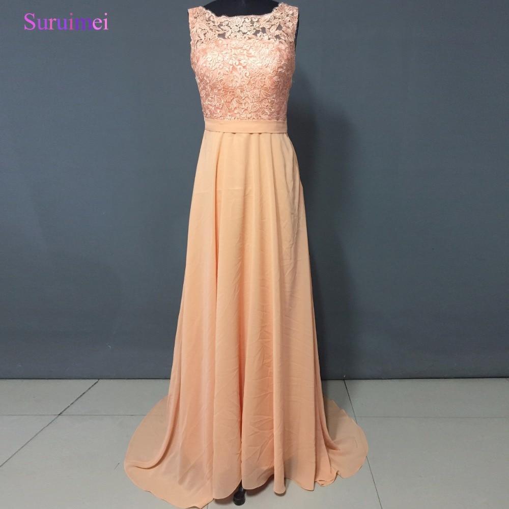 Long Peach Bridesmaid Dress