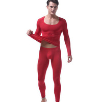 2018 New Men New Autumn clothing Ultra thin ice silk underwear set Long johns Sexy Seamless Warm and comfortable Top Quality