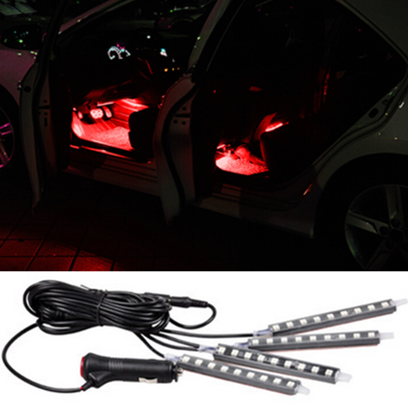 4x9LED 12V led Decorative Atmosphere Lights Car Interior Lights For ...