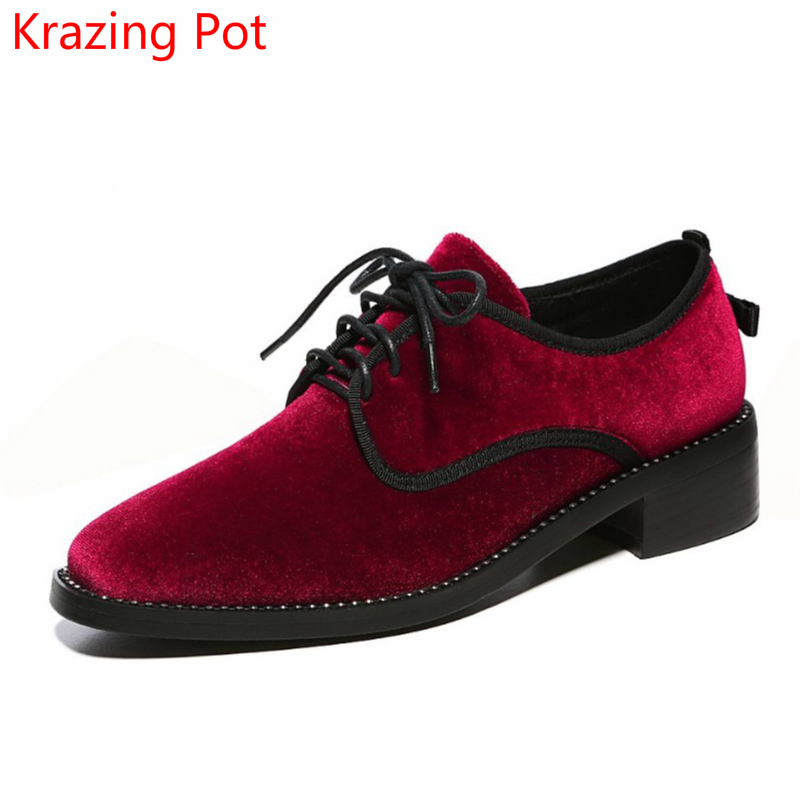 Fashion Brand Spring Shoes Velvet Crystal Lace Up Thick Heel Fur Women Pumps Round Toe British School Runway Causal Shoes L0f2