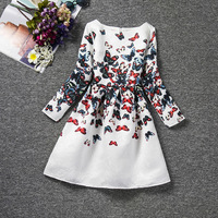 2016 Spring And Summer High End European Butterflies Animal Print Kids Clothes Girls Dresses Long Sleeves