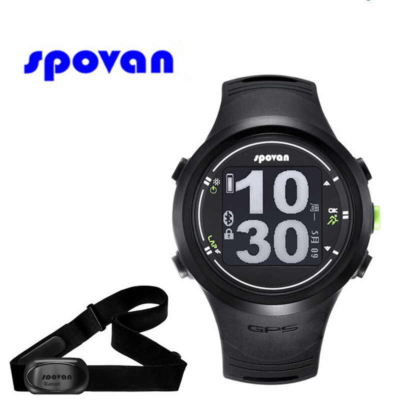 Spovan GPS Watch Bluetooth 4.0 Chest Strap + Waterproof Sport Watch Heart Rate Monitor Calories Counter Fitness Clock Hours saat multifunction digital pulse rate calories counter wrist watch orange 1 x 2032