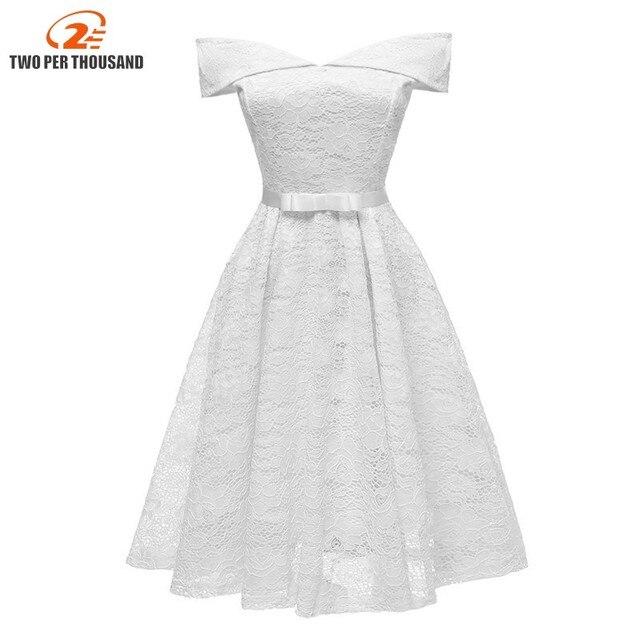 ef2cea9aa40 Vintage Elegant White Floral Lace Women Midi Dress Evening Party Robe  Ladies Dresses A Line Bow Dress Vestido De Festa