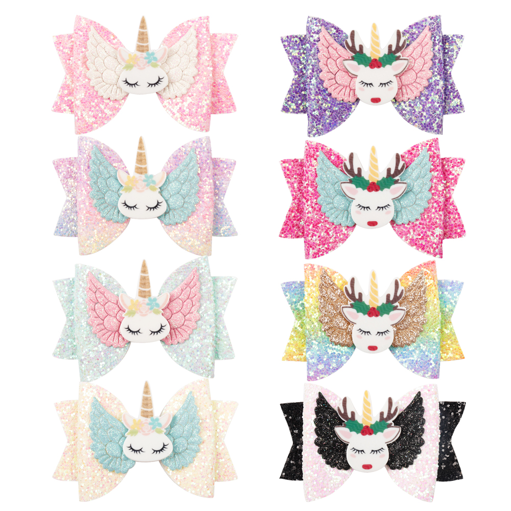 AHB 3 quot Princess Hair Bows for Baby Girls Cartoon Unicorn Glitter Hair Clips Barrettes Kids Handmade Hairgrips Hair Accessories in Hair Accessories from Mother amp Kids