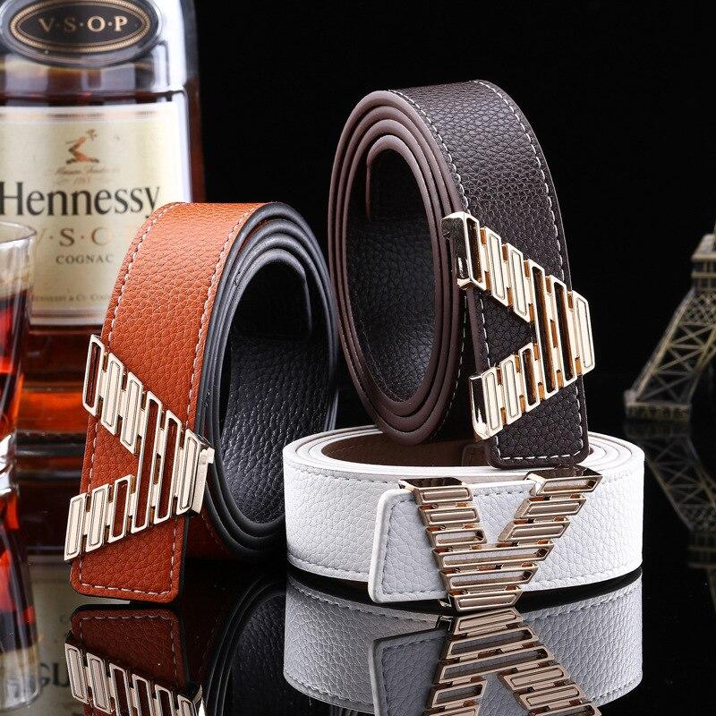 Brand letter   Belts   For Women Jeans Strap 2017 New V Designer Brand Genuine Leather   Belt   Men Famous Luxury High Quality Waistband