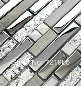 Grey Stone Blend Stainless Steel Glass Mosaic Tile Ssmt001 Stainless