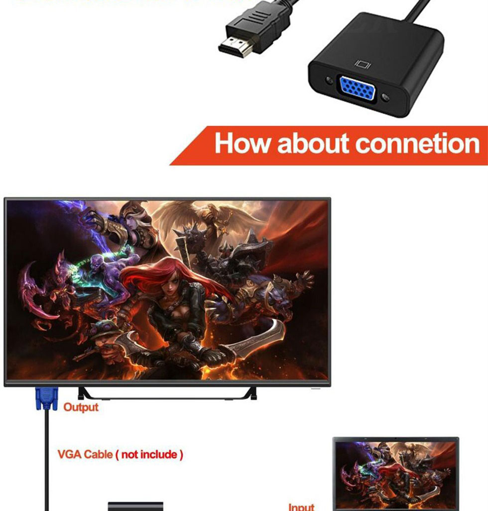 COOLJIER HDMI to VGA Cable Converter Digital Analog HD 1080P For PC Laptop Tablet HDMI Male To VGA Famale Converter Adapter