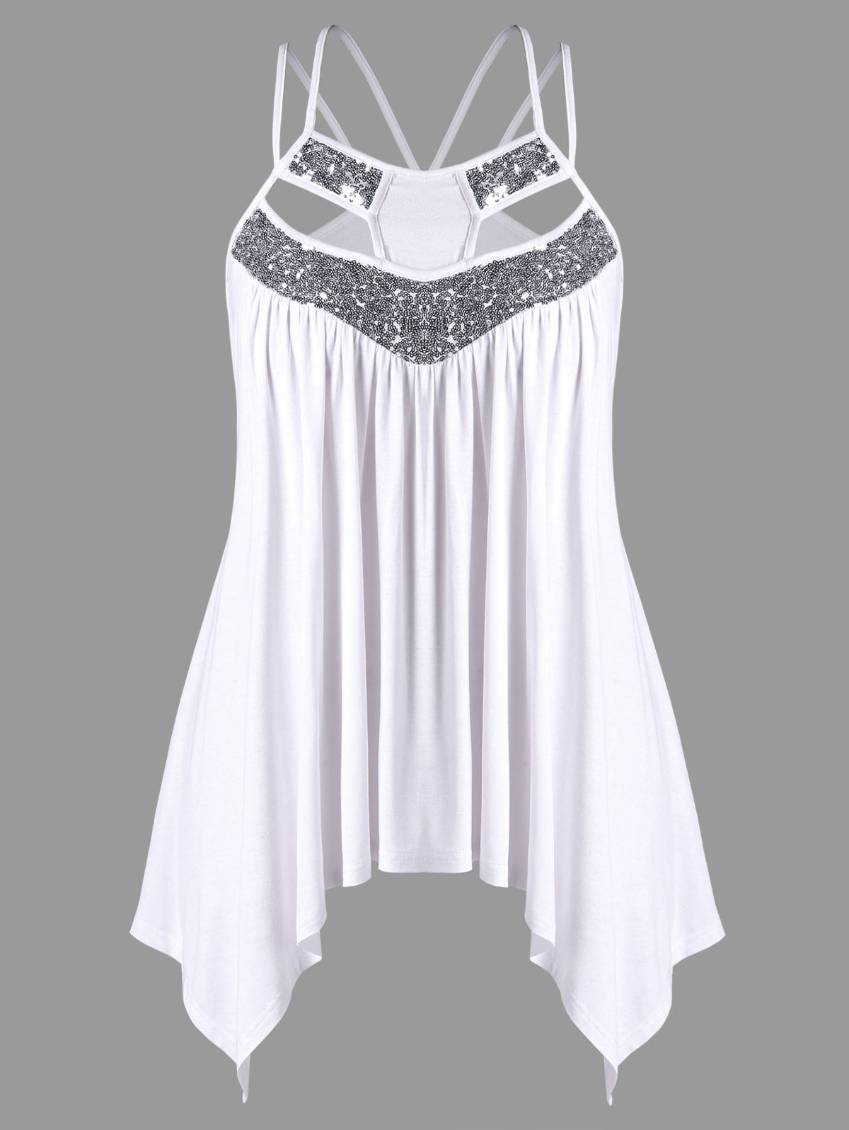 Wipalo Plus Size Glittery Strappy Sequined Trim Crescent Hem Cami Top Female Summer 2018 Women Tops Workout Spaghetti Strap Tank