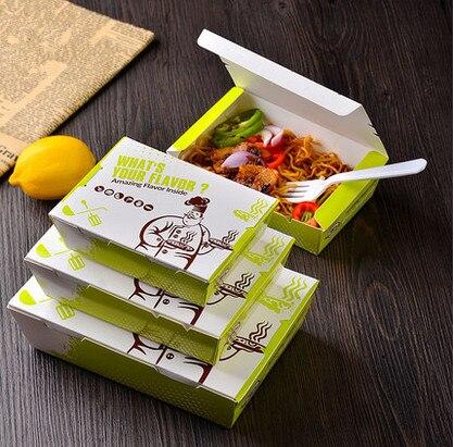 100pcs Bag 13 4 X10 2cm Green Ivoryboard Ng Box Take Out Lunch Bo