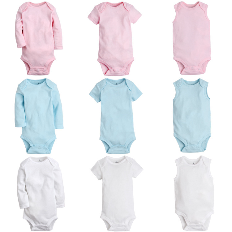 Baby Clothes White Pink Cotton Short Sleeve Baby Romper ...