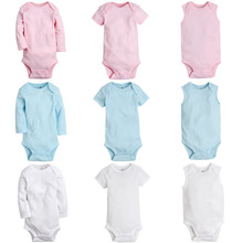 Baby Clothing Outfit Romper Overalls Short-Sleeve Pink Cotton White